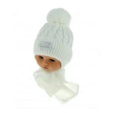 Czapeczka zimowa niemowlęca 42-46 biała z misiaczkiem